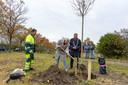 Stoffel Boot plant zijn boom samen met burgemeester Gerard Rabelink
