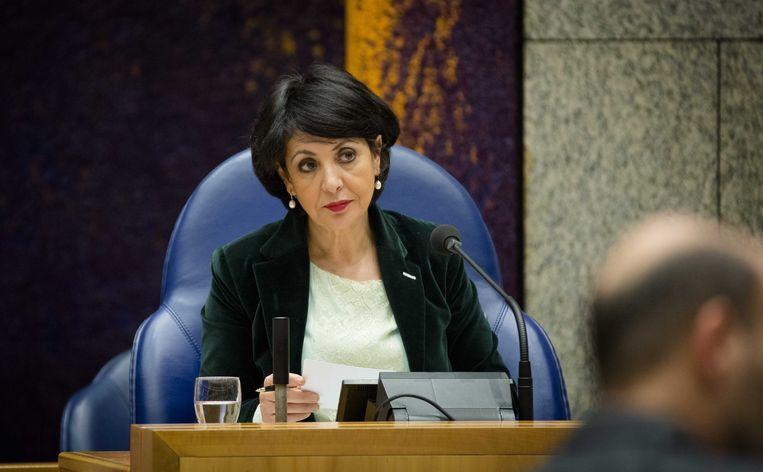 PvdA-Kamerlid Khadija Arib in de voorzittersstoel. Beeld anp