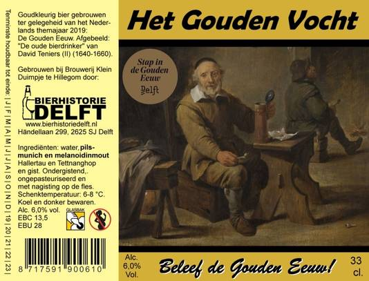 Etiket van speciaal Delfts bier, voor themajaar de Gouden Eeuw en Delft. Gouden Vocht.