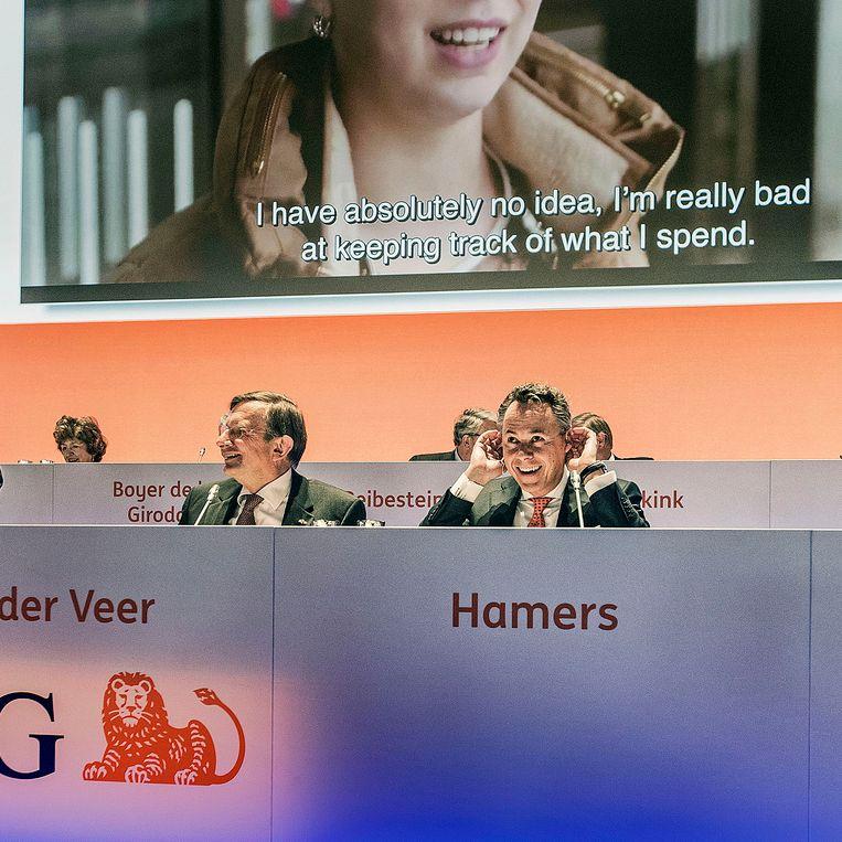 Aandeelhoudersvergadering van ING onder leiding van Jeroen van der Veer en Ralph Hamers, 28 april.  Beeld Guus Dubbelman / de Volkskrant