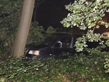 Auto raakt van de weg en ramt boom in Nijkerk