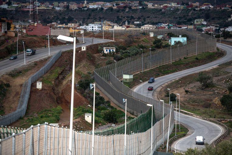 De grens tussen Marokko en de enclave Melilla.