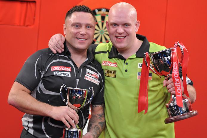 Gerwyn Price en Michael van Gerwen.