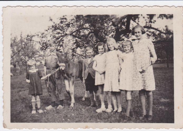 Kinderen en evacués bij Jan en Dien Bremer in de boomgaard.