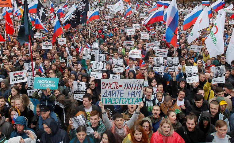 Volgens persagentschap Reuters waren er zaterdag zeker 60.000 betogers in Moskou.