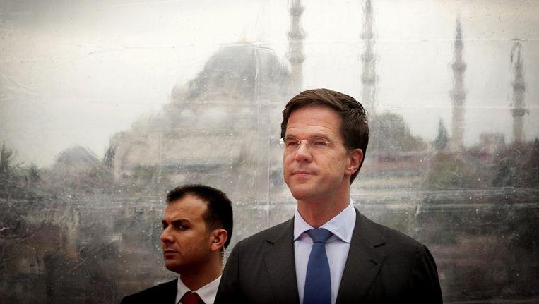 Premier Mark Rutte bezoekt een project van Royal Haskoning op de tweede dag van de handelsmissie in Turkije. Het Nederlandse adviesbureau bouwt een brug voor de metro over een van de zijtakken van de Bosporus. Beeld anp