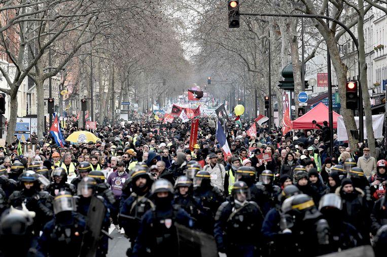 Protest in Parijs tegen de pensioenplannen van de Franse regering.