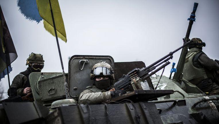 Soldaten van het Oekraïense regeringsleger in de regio Donetsk. Beeld AFP