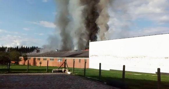 De vlammen slaan uit het dak van de loods, dat asbest bevat. De rookpluim is tot 20 kilometer in de omtrek te zien.