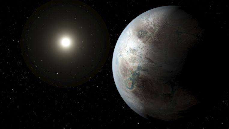 Een beeld van hoe Kepler-452b er mogelijk uitziet. Het is een artistieke impressie gemaakt door de Nasa. Beeld REUTERS