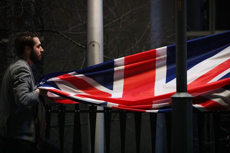 De Britse vlag werd weggehaald voor het Europese Parlement op 31 januari.