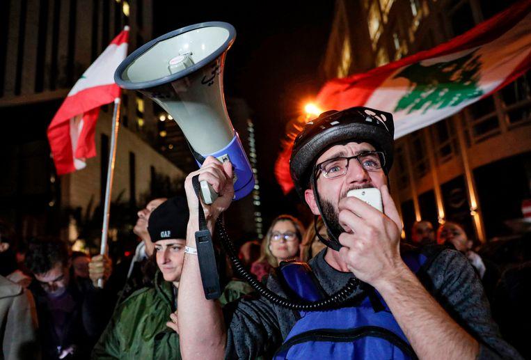 Demonstranten in Beiroet. Beeld AFP