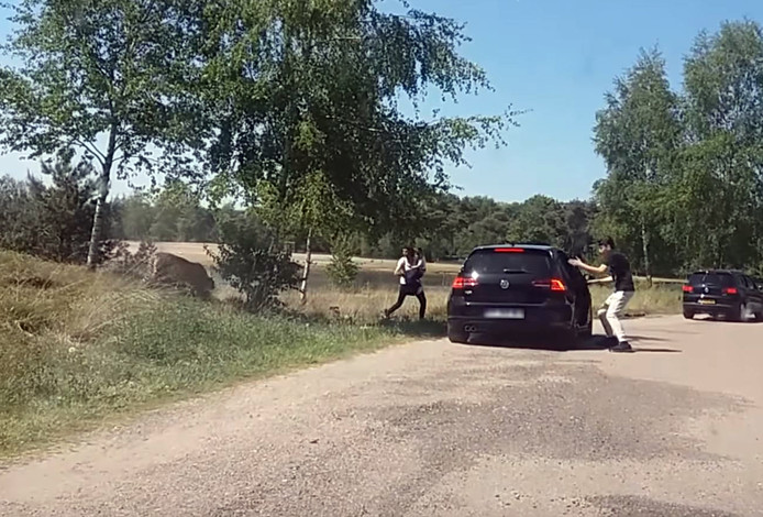 Een Frans gezin stapt met gevaar voor eigen leven uit de auto tijdens een auto-safari.