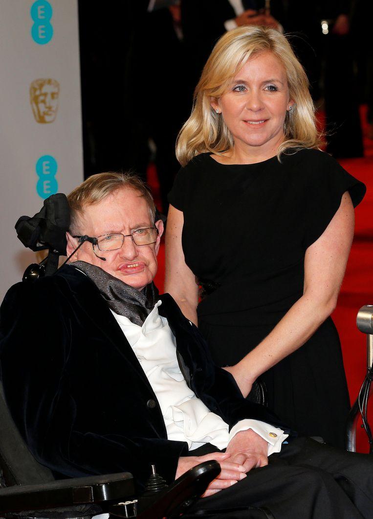 Met zijn dochter Lucy op de BAFTA Awards in Londen in 2015 Beeld reuters