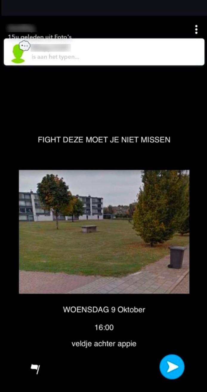 Een oproep vanmorgen op Snapchat om naar de vechtpartij te komen kijken