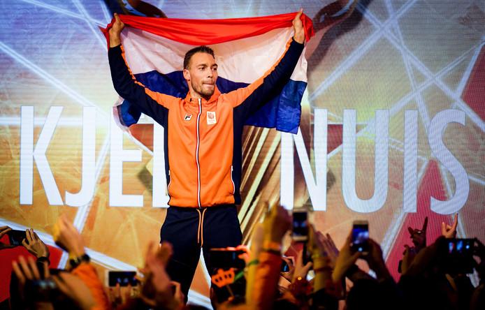 Kjeld Nuis' huldiging in het Holland Heineken House vorig jaar februari, na zijn goud op de 1500 meter tijdens de Olympische Winterspelen van Pyeongcahang.