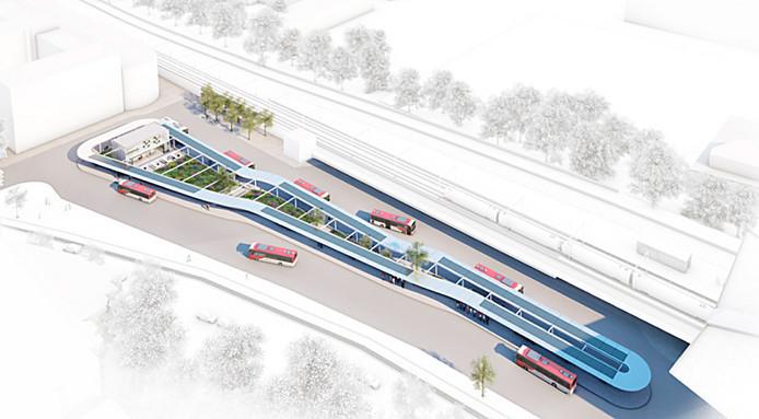 Ontwerp voor het nieuwe busstation.