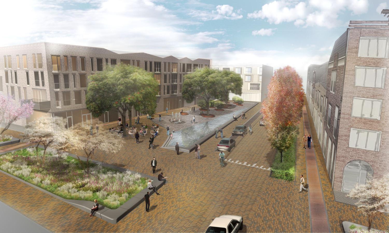 Voorlopig schetsontwerp van het Ubuntuplein op Noorderhaven in Zutphen. Het wooncomplex gaat er niet komen.
