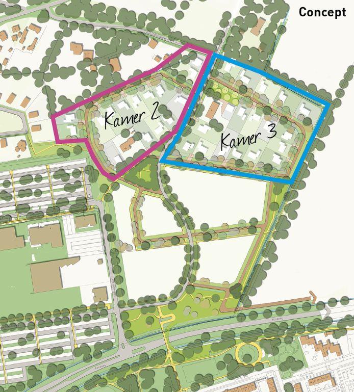 Deze gebieden in Kamer 2 en 3 worden begin november bij loting verkocht. Linksonder ligt ziekenhuis Bernhoven.