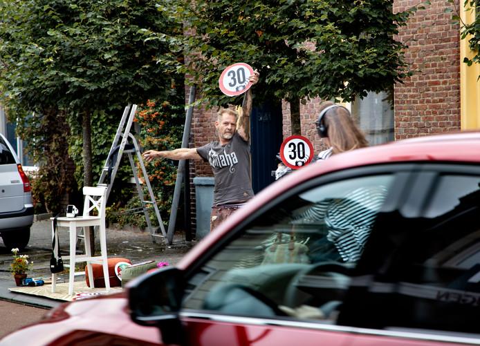Stephan Vermeeren voert actie in de Hoogstraat Eindhoven