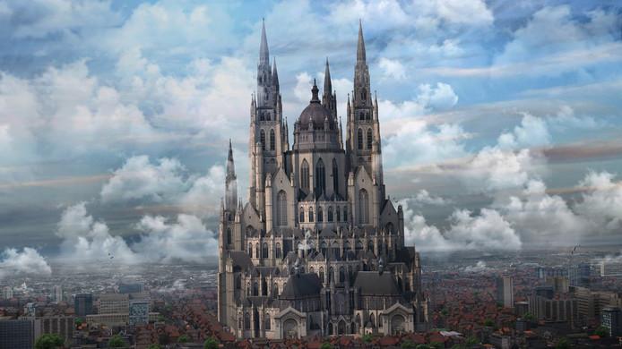 Affiche van het Grootste Museum van Nederland met alle 13 kerken erin verwerkt, waaronder de basiliek van Oudenbosch.