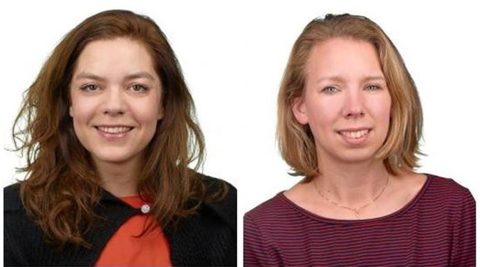 Inès den Ouden (links) vertrekt uit de gemeenteraad, Suzan Cornelissen (rechts) volgt haar op.