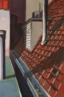 Sietske Koopman schildert alles wat ze tegenkomt zoals hierboven. Uit dit werk, Dakgoot, spreekt het verlangen om te blijven kijken.