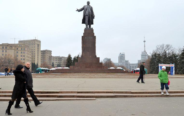 Een standbeeld van Lenin in Charkov, Oekraïne. Beeld anp