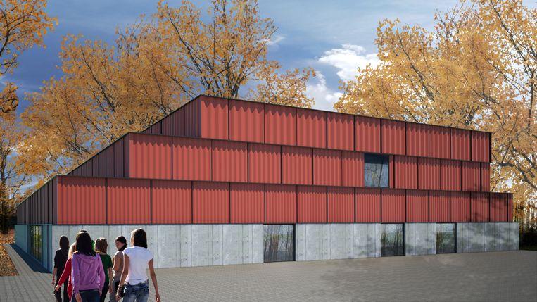 Een toekomstbeeld van de nieuwe sportzaal in het domein Kruikenburg.