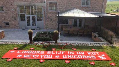 Overpeltse steunt Limburg met gigantisch spandoek