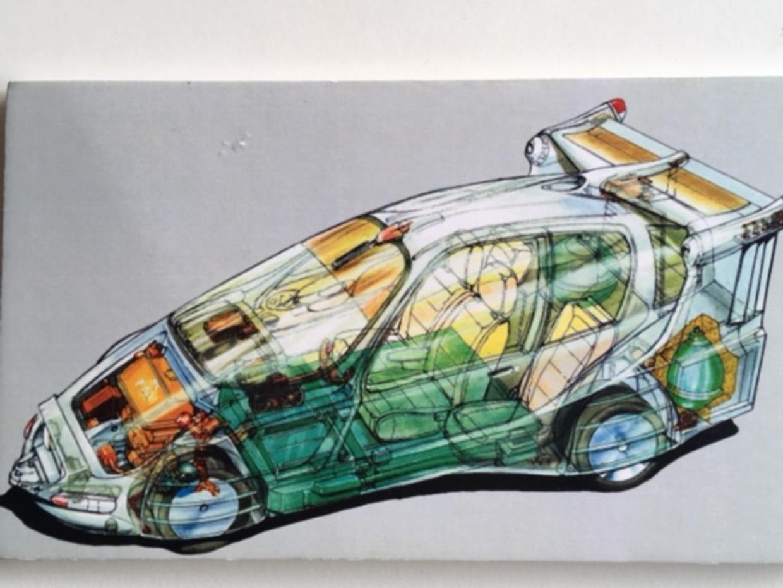 Futurologische tekening auto van Rudolf Das.