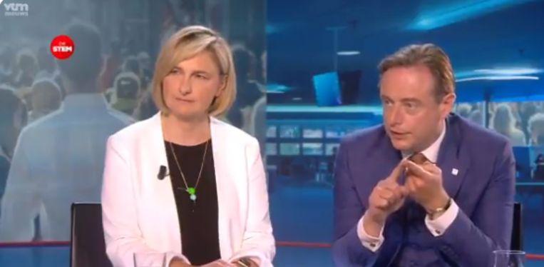 Hilde Crevits en Bart De Wever bij VTM Nieuws.