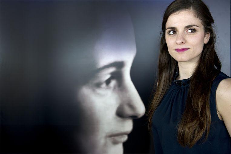 Actrice Rosa da Silva tijdens de castpresentatie van de theatervoorstelling ANNE. Da Silva speelt Anne in het theaterstuk over het leven van Anne Frank. Beeld anp