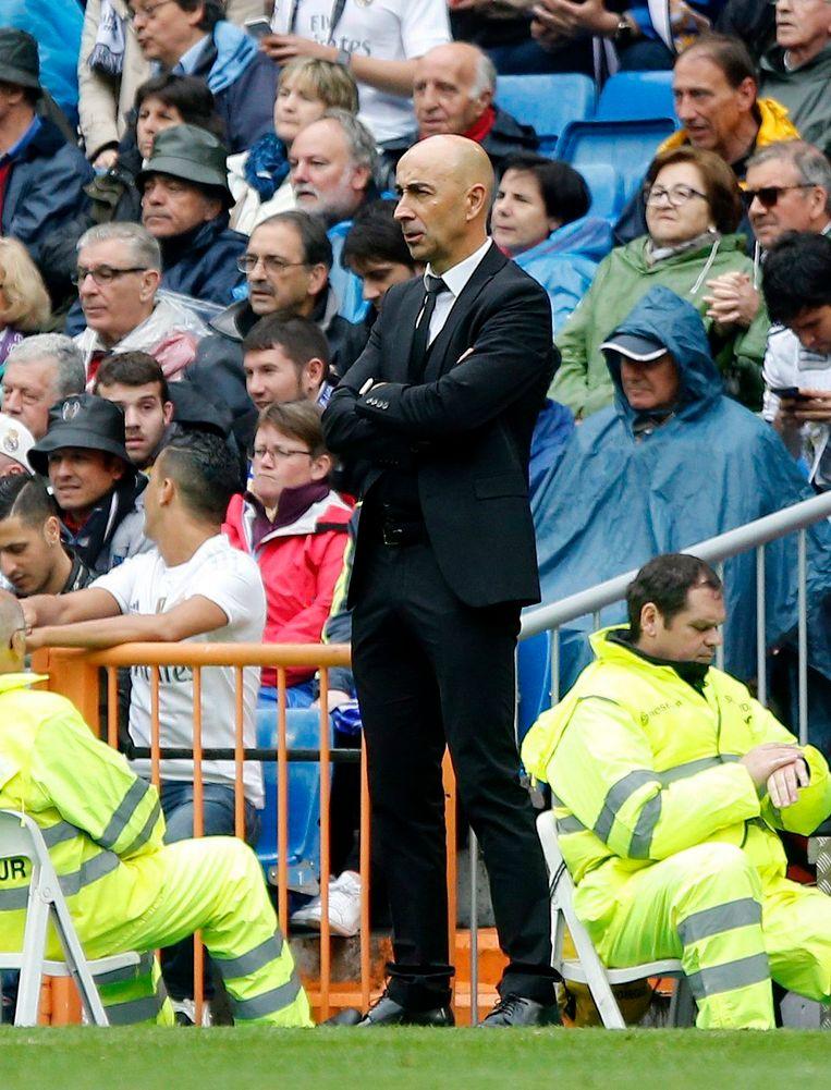 Ayestaran vorig jaar als coach van Valencia in het Bernabeu.