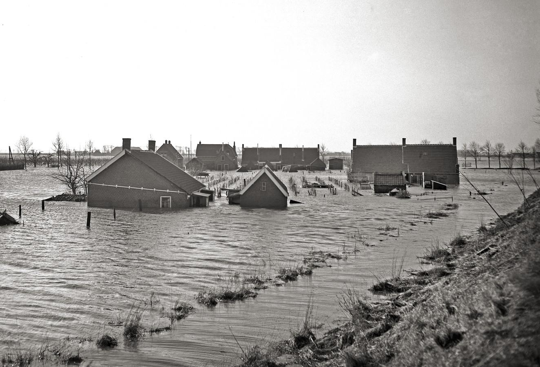 Een drama als de Watersnoodramp van 1953 moeten we nooit meer willen. Op de foto Rilland Bath onder water.