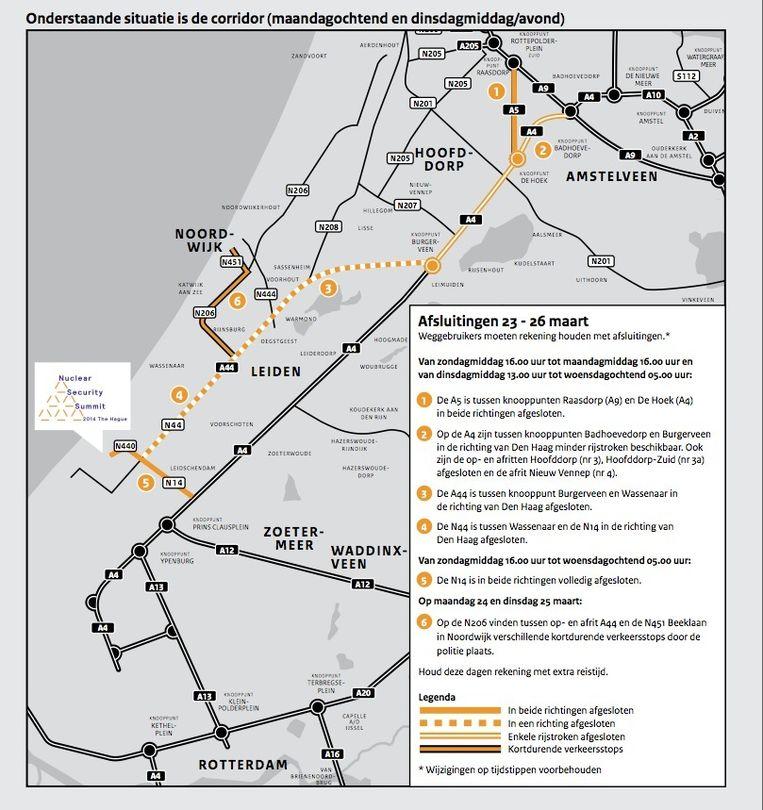 De corridor, het gebied dat het meeste lijdt onder de nucleaire top. Beeld Rijkswaterstaat