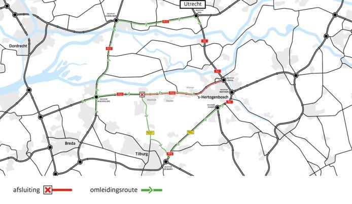 De A59 is komend weekend tussen Waalwijk en knooppunt Empel afgesloten voor al het verkeer.