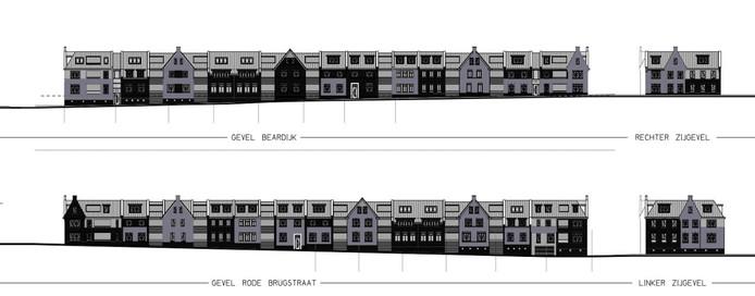 Gevelaanzicht van de nieuwbouwplannen op het terrein van een oude kartonnagefabriek met aanpalende bakkerij in Oisterwijk.