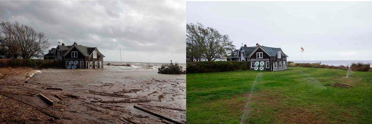 Dit huis in Bellport, in de staat New York, werd in oktober 2012 getroffen door superstorm Sandy. De foto rechts is van precies een jaar later, toen was het nodig het gras te besproeien. Beeld REUTERS