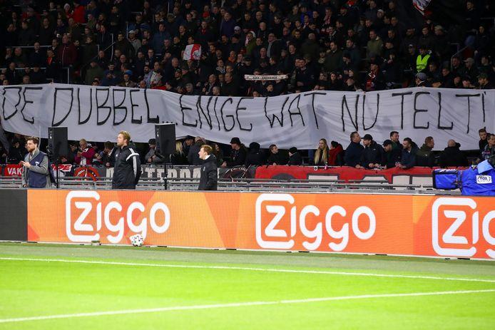 Een spandoek bij Ajax-AZ, begin vorige maand.