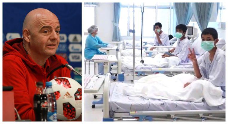 FIFA-voorzitter Gianni Infantino (l.) had de kinderen op de finale van het WK zondag in Moskou uitgenodigd, maar die reis kunnen ze om gezondheidsredenen niet maken.