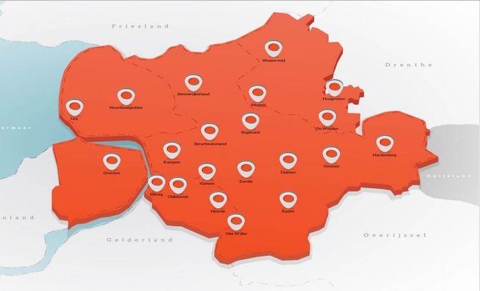 De kaart waarop alle gemeenten staan die zich inmiddels hebben aangesloten bij de politiek-economische Regio Zwolle.