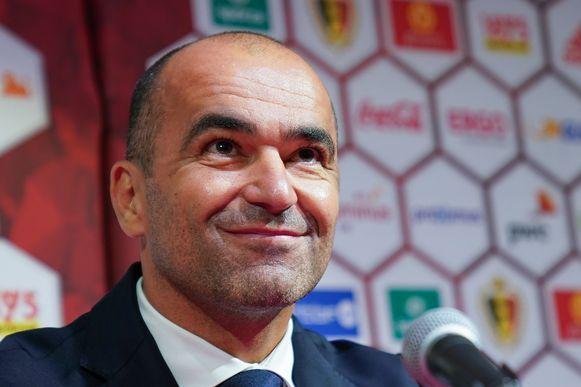 Roberto Martínez tijdens de persconferentie vandaag.