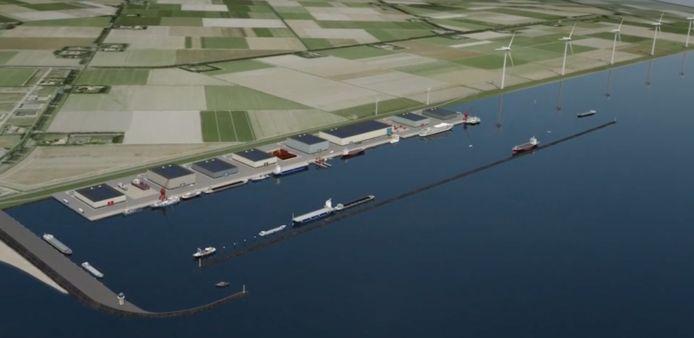 Artist impression van de nieuwe servicehaven bij Urk
