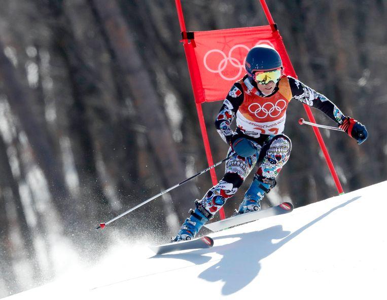 De Mexicaanse Sarah Schleper doet mee aan het alpineskiën. Beeld epa