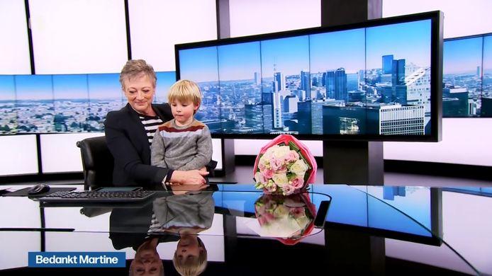 Martine Tanghe kreeg bloemen van haar kleinzoon Max.