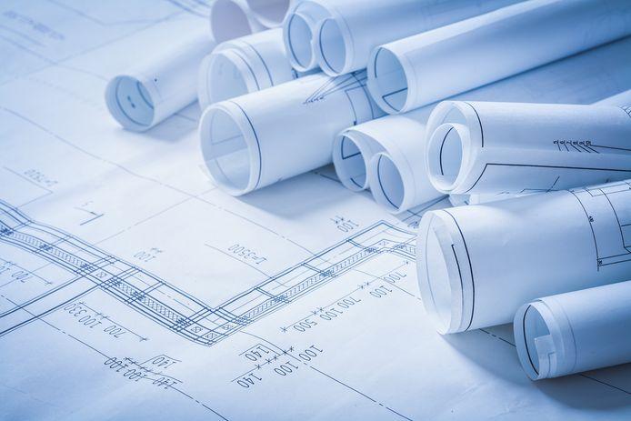 Variety of engineering construction drawings building concept   stockadr bouw bouwplan plan blauwdruk blueprint ontwerp