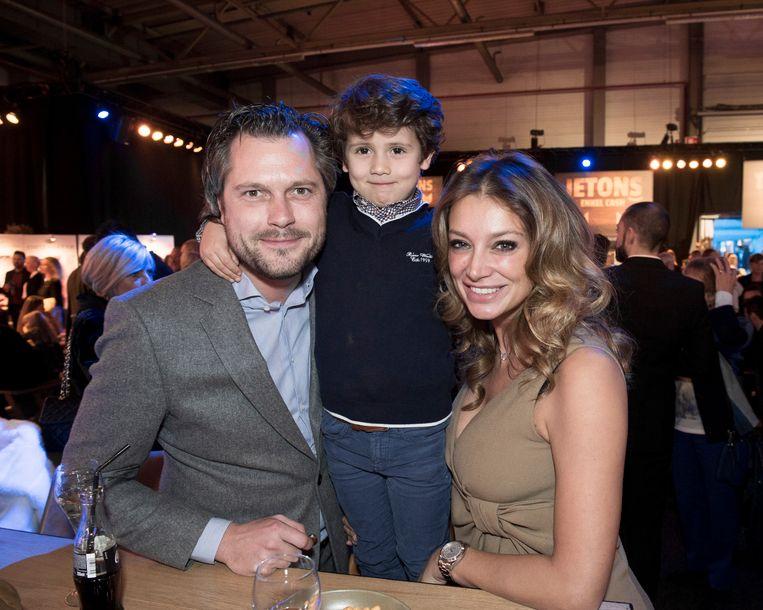 Véronique De Kock met vriend Manuel Goossens en zoon Maximilien.