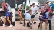 VIDEO: Buschauffeur verwikkeld in meest bizarre gevecht met feestvierders op Ibiza