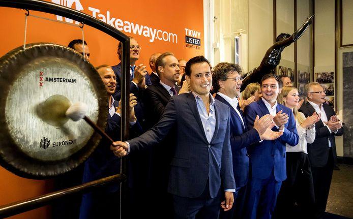 CEO Jitse Groen luidde op 30 september 2016 de gong tijdens de beursgang van Takeaway.com, het moederbedrijf van Thuisbezorgd.nl.